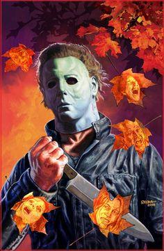 "Horror Movie Art : Halloween 1978 ""Michael Myers"" by Ed Repka Halloween Film, Halloween Horror, Halloween Jamie, Halloween Artwork, Halloween 2013, Halloween Town, Happy Halloween, Beetlejuice, Horror Artwork"