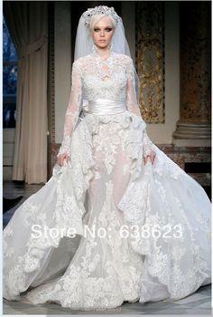 新しい高級aw575送料無料長袖ハイネックのレースのアップリケzuhairミュラドオートクチュール長い花嫁のウェディングドレス