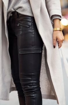 Leather + taupe.
