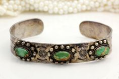 Antique Deco Sterling Silver Navajo Native Pawn Royston Turquoise Cuff Bracelet!