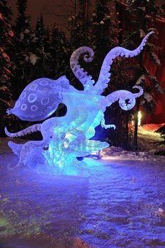 Fairbanks, Alaska, February 27, 2010: Blue Ring Octopus Ice Sculpture, 2010 World Ice Art Championships