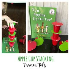 Ten Apples Up on Top stacking apple activity for apple theme preschool unit Preschool Apple Activities, Preschool Apple Theme, Dr Seuss Activities, Fall Preschool, Autumn Activities, Preschool Lessons, Preschool Crafts, Preschool Activities, Toddler Fall Activities