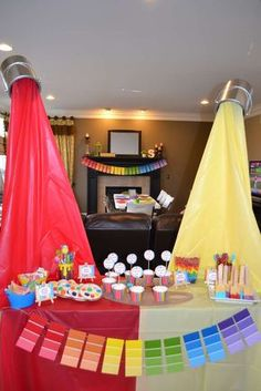 a great art birthday party! See more party ideas at ! Artist Birthday Party, Birthday Painting, 10th Birthday Parties, Birthday Fun, Birthday Party Themes, Rainbow Birthday, Art Birthday Cake, Colorful Birthday Party, Kunst Party
