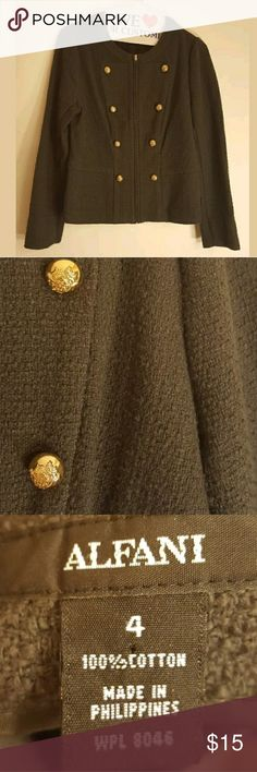 """Alfani Womens Jacket Size 4 Full Zip Cotton Gray G Alfani Womens Jacket Size 4 Full Zip Cotton Gray Gold Sweater Buttons Career  Underarm to Underarm about 18"""" Length about 19"""" Sleeves about 23"""" Jackets & Coats"""