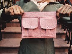 Pink Wool Tweed Herringbone Wristlet Wallet