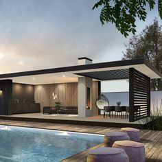 Modern Pool House, Modern Gazebo, Modern Pools, Modern Backyard, Small Pool Houses, Outdoor Patio Designs, Outdoor Pergola, Outdoor Kitchen Design, Outdoor Rooms