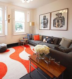 Kate Monckton Kew House Living Room With Mod Orange Rug And Gray Couch Remodelista