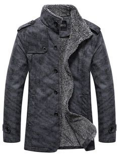 GAMISS for MEN - Stand Collar Single-Breasted Epaulet Embellished Jacket