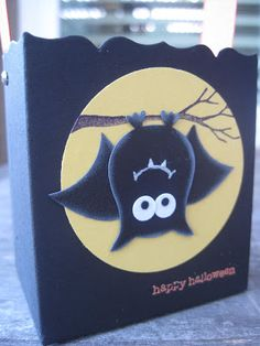 Another great use for your Owl Punch!  This bat you see hanging in the full moon is no tricks and all treats on this handmade box - you could easily put this on a Halloween card!