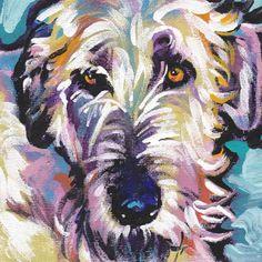 Irish Wolfhound art print pop dog art bright by BentNotBroken, $22.99