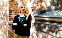 Alicia wool jumper with lovely neclace from Denise Cruz.