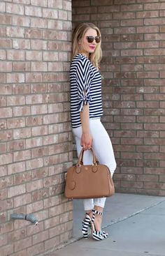 Nautical Style :: Stripe Bow Top & Navy Striped Sandals Glamour-Zine