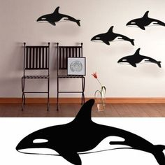 Whale Art wall decal stickers  Set of four killer by SeaLubbers, $49.00