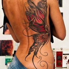 "this, without the ""catipillar"" part, just the wings the way they are on both halves of my back, and say theyre fairy wings. great back tattoo. :)"