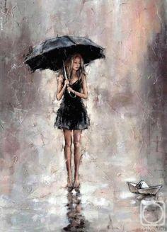 Resultado de imagem para painting girl in trench walking dog