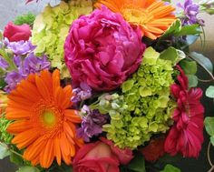 bright colored wedding bouquets | Raspberry peonies, baby green hydrangea, gerbera i n orange and ...