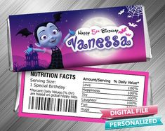 Vampirina Hershey Candy Bar Wrapper - PrintDParty Selling Birthday Invitation and Printable Party Decoration Digital File. Crunch Chocolate Bar, Hershey Chocolate Bar, Chocolate Bar Wrappers, Candy Bar Wrappers, Hershey Candy Bars, Hershey Bar, Birthday Candy, Special Birthday, 5th Birthday