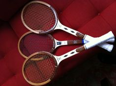 My favorite wooden tennis racquets for play.  Wilson Jack Kramer Prostaffs, and a Wilson Chris Evert Autograph (yes, I'm man enough to play and perhaps beat you with a woman's wood racquet).  The racquets play very similar and weigh the same despite one being named after a man, and the other a woman.