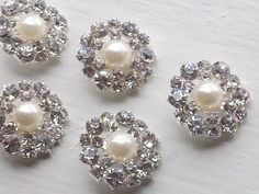 10 Pieces  21 mm  Silver Metal Buttopns With  Rhinestone by zzlaca, $14.99