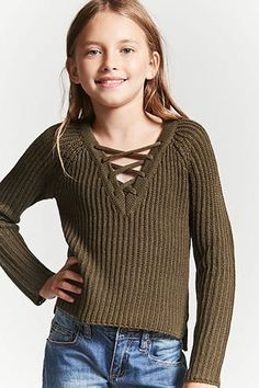Product Name:Girls Ribbed Knit Lace-Up Sweater (Kids), Category:girls_tops, Pric… - Preteen Clothing Good Clothing Brands, Best Clothing Websites, Clothing Stores, Teen Clothing, Canada Clothing, Top Websites, Clothes Shops, Dresses For Tweens, Kids Outfits Girls