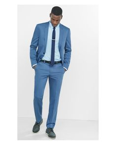 93e7b38f8beb Express | Skinny Innovator Cotton Sateen Blue Suit Pant for Men | Lyst  Express Men,