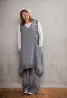 Emily Shift Dress £255 over Penny Trousers in linen £215.