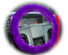 Purple steering wheel cover faux fur fuzzy furry fluffy Punk Goth Emo vamp halloween car truck camper van jeep 4x4 suv violet Amethyst plum