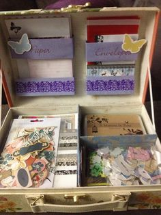 Up cycled gift box from dollar store turned into a letter writing storage box :-)
