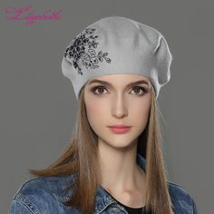 Cheap beret cap, Buy Quality wool knit beret directly from China fashion beret Suppliers: LILIYABAIHE New Women Winter Hat wool Knitted Berets Cap with flower Sequins diamond decoration solid colors fashion lady hat Beret Outfit, Hat Decoration, Diamond Decorations, Knitted Beret, Newsboy Cap, Winter Hats For Women, Head Accessories, Caps For Women, Colorful Fashion