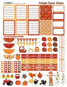 Autumn Days Printable Planner Stickers 1 Owls by DigiScrapDelights
