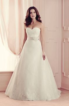 Strapless A-Line Wedding Dress  with Natural Waist. Bridal Gown Style Number:33471723