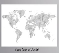 Black and white world map world map art for traveler space art grey world map gray world map large world map instant download world map wall art world gumiabroncs Image collections
