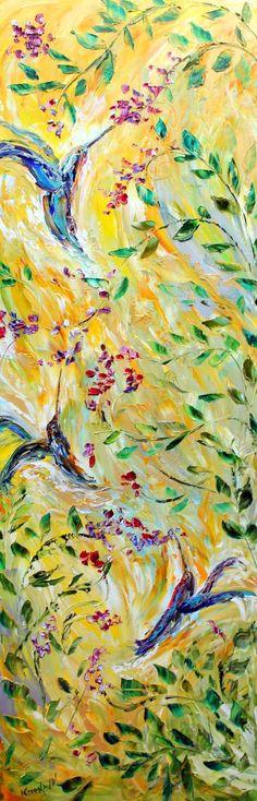 "Original impasto palette knife oil painting ""Dance of the Hummingbirds"" by Karensfineart"