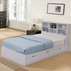 Headboard With Shelves, Bed Shelves, Bookcase Headboard, Bed Frame With Storage, Bed Storage, Twin Daybed With Storage, Full Size Storage Bed, Storage Headboard, Headboard Ideas