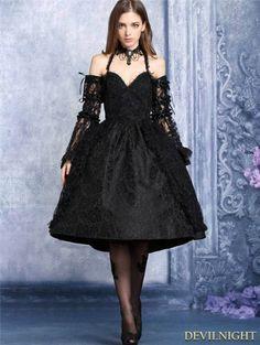Black Lace Halter Gothic Dress - Devilnight.co.uk