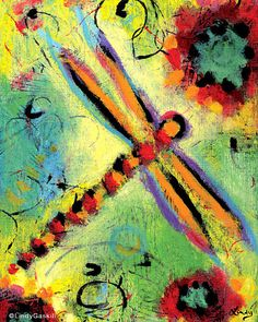 Colorful Whimsical Dragonfly Print 8 x 10  by ArtworkbyLindy, $30.00