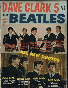 """Teen magazine playing up the """"rivalry"""" between The Beatles & The Dave Clark Five; the were the first band to knock the Beatles out of the spot in the music charts. Paul Mccartney, Ringo Starr, George Harrison, John Lennon, Radios, Liverpool, The Dave Clark Five, Les Beatles, Beatles Poster"""