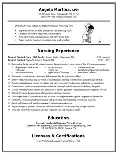 7 Best Nursing Resume Examples Images On Pinterest Lpn Resume