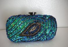 Sequin Peacock Feather Aqua Blue Green Glitter Glam Crystal Beaded Formal Evening Cocktail Clutch Purse on Etsy, $65.00