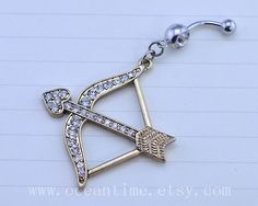 bling bow and arrow Belly Button Ring