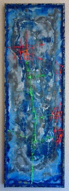 Omaggio Floreale - 30x90 Pittura su due livelli - Acrilico su tela - Acrilico su filo di nylon