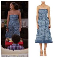3617076acab Blackish  Season 2 Episode 22 Rainbow s Blue Floral Denim Strapless Dress  Strapless Denim Dress