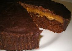 Jared loves Reese's Peanut Butter Cups, so this year for his birthday I created this cake! It really tastes like a big Reese's! YUM. It is really rich and each cake probably serves 10-1…