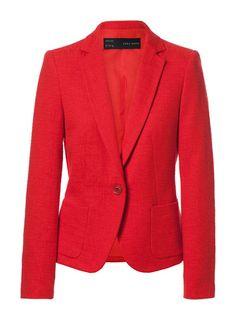Zara red hot single button  blazer
