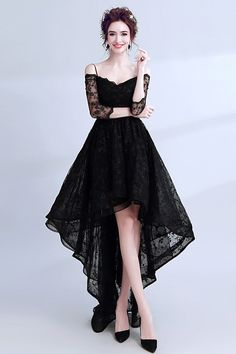 Buy High Low Black Lace Prom Dress Sleeved With Spaghetti Straps at wholesale … – Winter Dresses Bloğ Prom Dresses With Sleeves, Lace Evening Dresses, Dress Prom, Black Dress With Sleeves, Evening Gowns, Stylish Dresses, Casual Dresses, Formal Dresses, High Low Prom Dresses