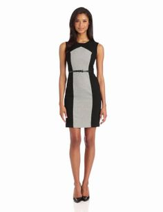 ed7ef90f44d250 Calvin Klein Women's Colorblock Dress Tih Belt, Black/Ivory, 16 at Amazon  Women's Clothing store: