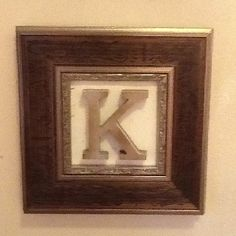 Picture frame with scrapbook paper and wooden letter spray painted silver with a light coat of bronze - displayed as his and her initials in bathroom Alphabet Wall Art, Wooden Letters, Scrapbook Paper, Picture Frames, Initials, Bronze, Craft Ideas, Display, Lettering