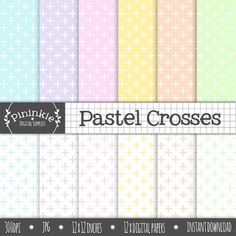 Pastel Crosses Digital Paper Pastel Cross Digital by Pininkie