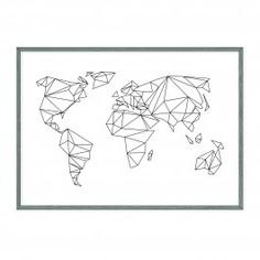 Premium Poster Geometrical World von Anna Albertine Baronius Juniqe Map Geo, Photowall Ideas, Affordable Wall Art, Wall Accessories, Poster Prints, Art Prints, Art Mural, Geometric Art, String Art