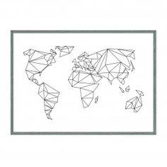 """Nach vielen Anfragen, gibt es den """"geometrical World"""" Print nun endlich auch in A1. YEAH!Weltkarten - Druck in tiefschwarz"""